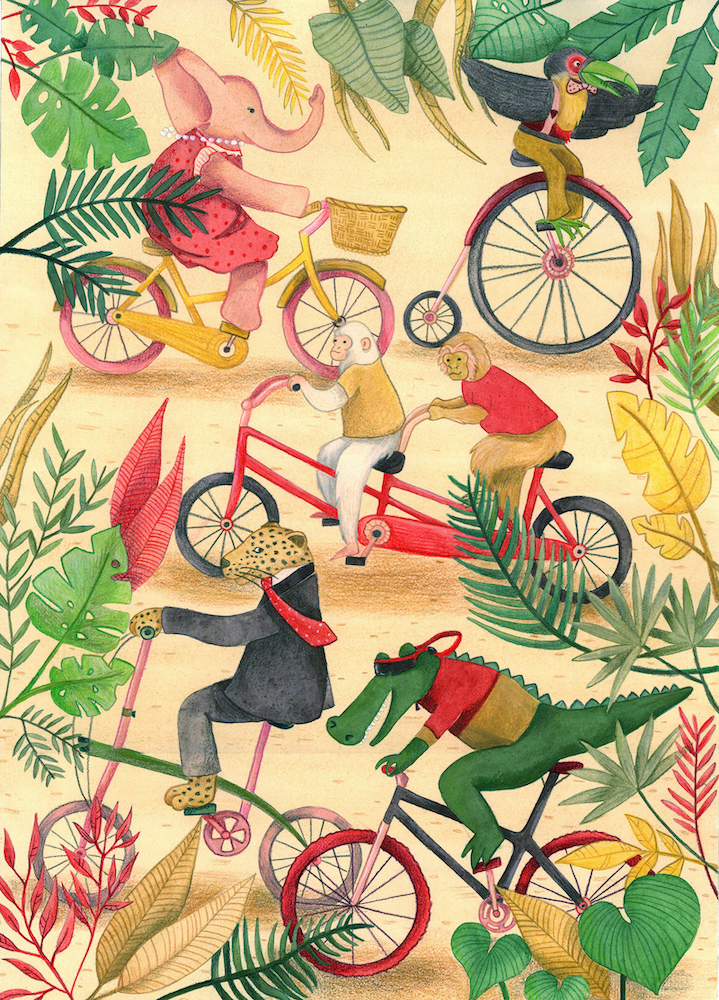 bycicle-jungle-animals