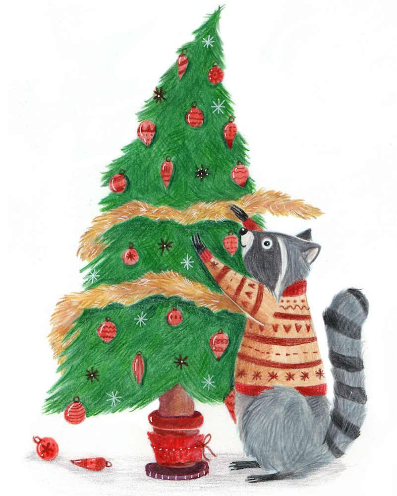 raccoon-decorating-house